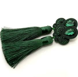 zielone kolczyki sutasz - SiSu-soutache - Kolczyki wiszące