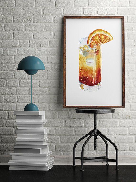 Cocktail Art Bar Art Watercolor Art Alcohol Kitchen Art Original painting Drink Original Watercolor Painting Cocktail Wall Art Original Art