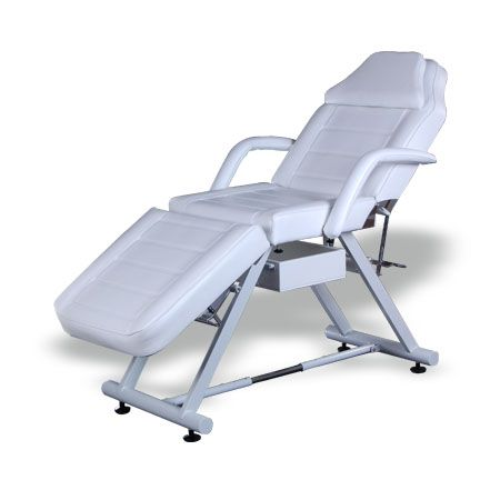 #Salonbed #Massagetable #Tattoo Table #HBA #Salon #Equipment #NewZealand  Monica II Beauty Bed (BE09.1)  $504.00 (GST Excl.)   Production/delivery time 10-12 weeks   •168(186)D×82W×68(77)Hcm  •Steel base structure with powder coated finish;  •Plywood structure with metal reinforcement;   •Upholstered with high density foam and top quality 1.2mm vinyl;  •Head and leg section manually adjustable;  •Height adjustable;  •Drawer open on both side.