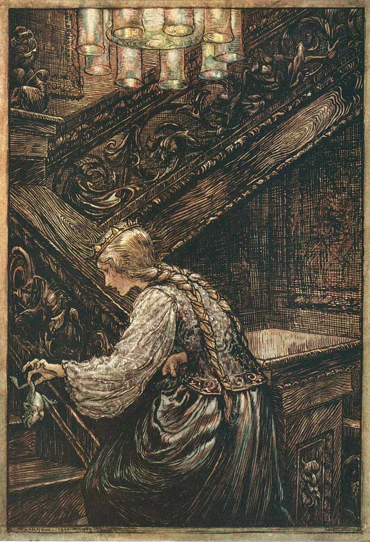 iwhospeakawkwardly:    Arthur Rackham, The Frog Prince (from The Fairy Tales of the Brothers Grimm)