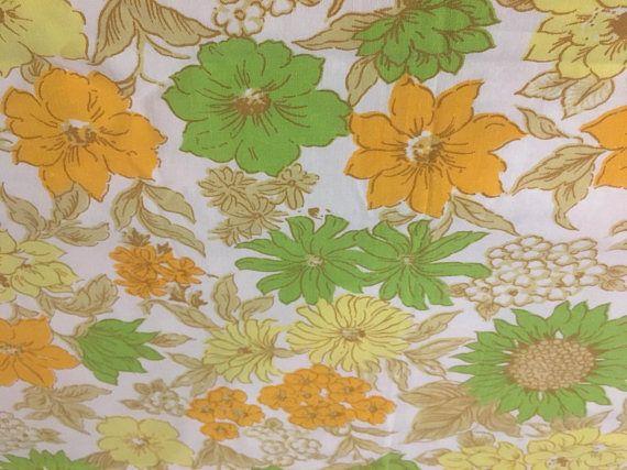 Vintage Fabric Vintage Sheet Retro Fabric Orange and Yellow