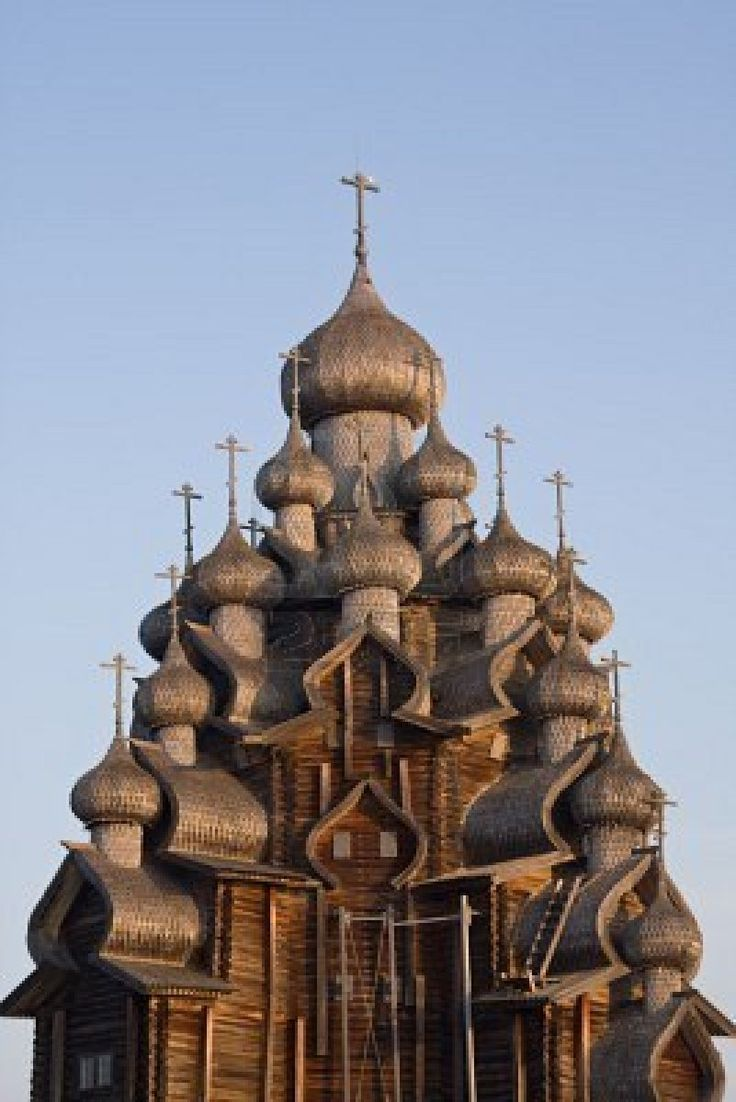 Oldest multi dome wooden church still standing from the time of Peter the Great (1714).  Church of the Transfiguration on Kizhi Island in northwestern Russia.