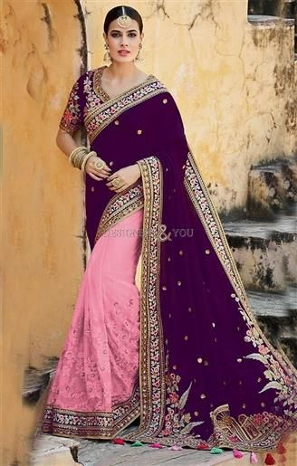 Decent Violet Silk Top Violet And Pink Half And Half Sari Design   #HalfSarees #DesignerHalfSarees #HalfSareesDesigns #HalfSareesDesigns #EmbroideredSarees #EmbroideredSareesPatterns #DesignersAndYou #DesignerSarees #HeavyHalfSarees #TopHalfSarees #HalfSarees2017BestHalfSarees #BeautifulHalfSarees #HalfSareesDesign #HalfSareesPattern