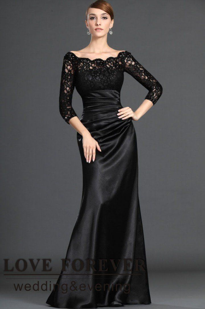 lace clothing for women | Black Lace and Satin Dresses Evening Long Sleeve Muslim Woman 2012 ...