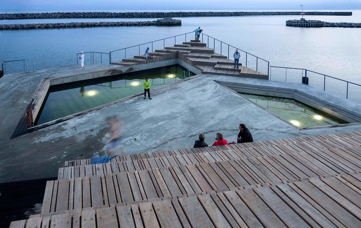 white floats hasle harbour bath for public swimming in bornholm