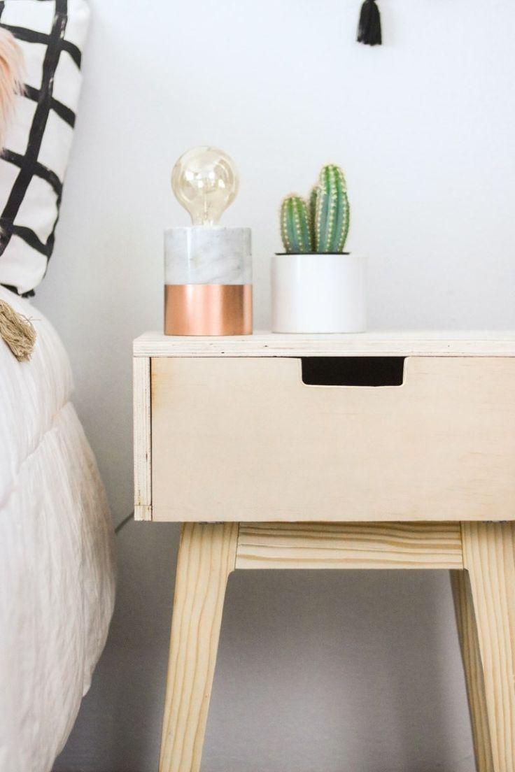 Diy Nightstand Using 2x3 S Mid Century Modern Easy In 2020 Diy Nightstand Diy Furniture Easy Diy Decor