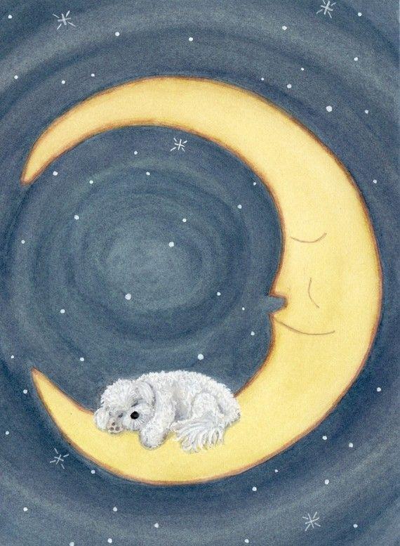 Bichon frise sleeping on the moon / Lynch signed folk art print, A very dear site!
