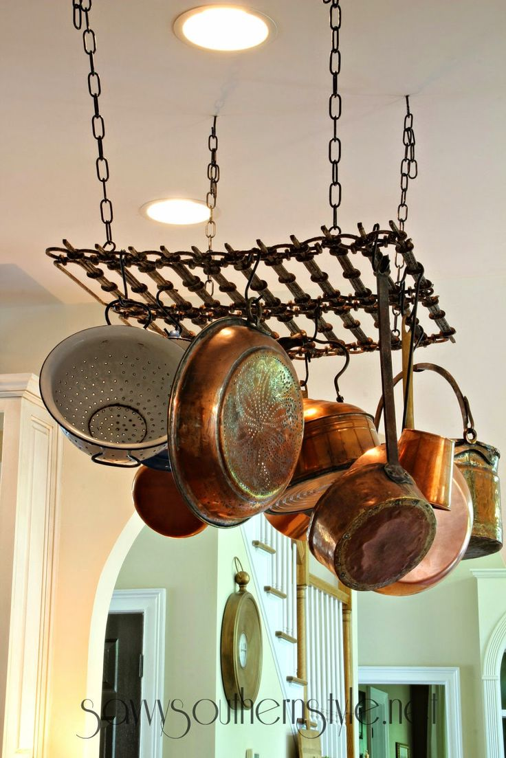 Savvy Southern Style: pot rack made from salvage piece