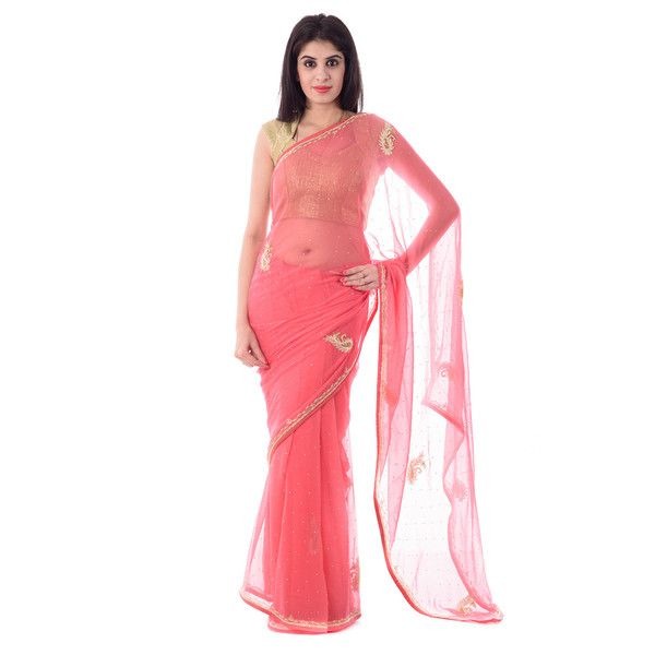 Dark Peach Chiffion Cut-Dana and Moti Work Saree With Blouse Piece