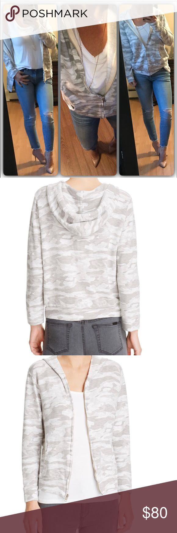 New💕Light Camo zip Hoody The camo print on this Monrow' super-soft hoodie in a  neutral grey color scheme looks amazing over just about anything. I especially love how Monrow lines the inside of the hood. 70% rayon, 27% cotton, 3% spandex Machine wash Modeling large Monrow Tops Sweatshirts & Hoodies