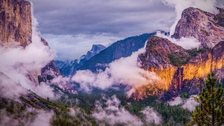 Скачать обои горы, национальный парк, природа, Yosemite national park, Йосе́митский национальный парк, облака, лес, США, раздел пейзажи в разрешении 1920x1080