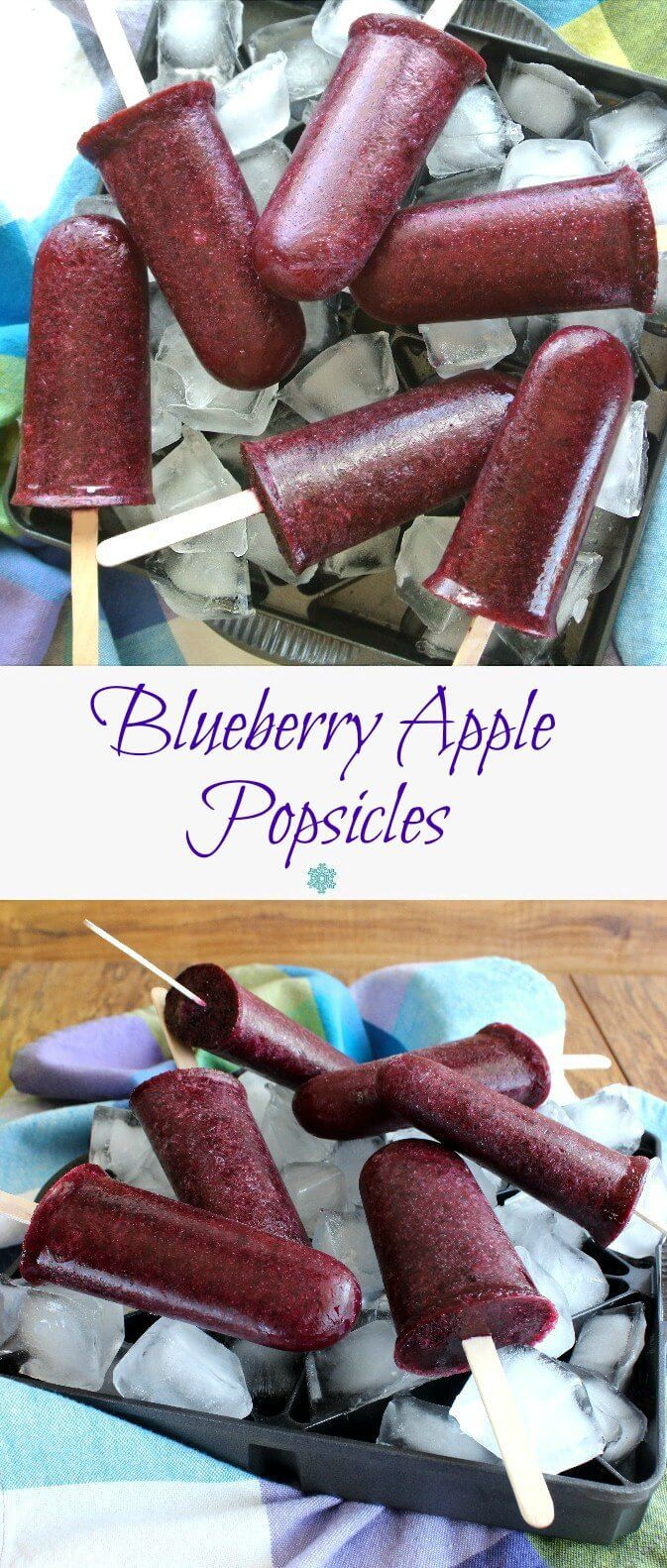 Blueberry Apple Popsicles are fruity, clean, fresh and cold. Only 2 ingredients to take you on your way to a healthy and easy treat. ~ http://veganinthefreezer.com