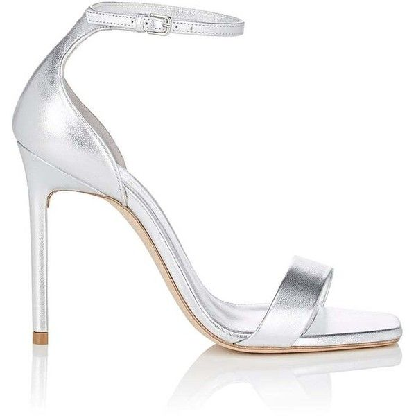 Saint Laurent Women's Amber Metallic Leather Sandals ($795) ❤ liked on Polyvore featuring shoes, sandals, silver, leather high heel sandals, metallic sandals, leather sole sandals, shiny shoes and high heels sandals