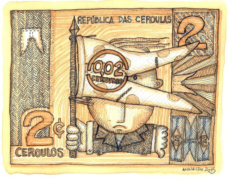 Devido à inflação, as cédulas de 2 Ceroulos serão emitidas com carimbo, passando a valer C$ 0,02 (2 centavos de Ceroulo) - A República das Ceroulas agradece a compreensão.