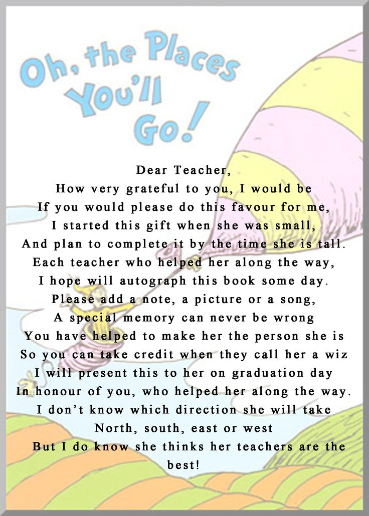 "girl version of the the instructions to go in the front of the book for a teacher to leave a note in ""oh the places you will go"""