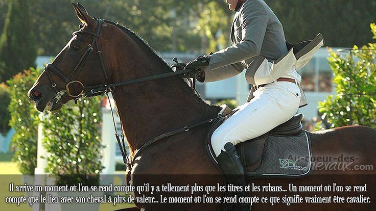 Il arrive un moment où l'on se rend compte qu'il y a tellement plus que les titres et les rubans... Un moment où l'on se rend compte que le lien avec son cheval à plus de valeur... Le moment où l'on se rend compte ce que signifie vraiment être cavalier.