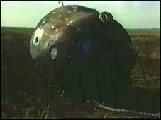 Soyuz 11 - Soviet Space Station Mission Turns Deadly: Soyuz 11 capsule after landing. All three crewmembers were discovered dead.