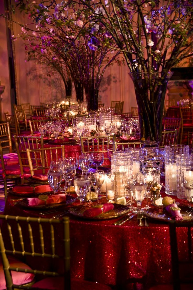 Pink Sequin Linen Tablecloth Pink Wedding Flowering Cherry Branche Floral  Centerpieces Hot Pink Micro Sequin Linens