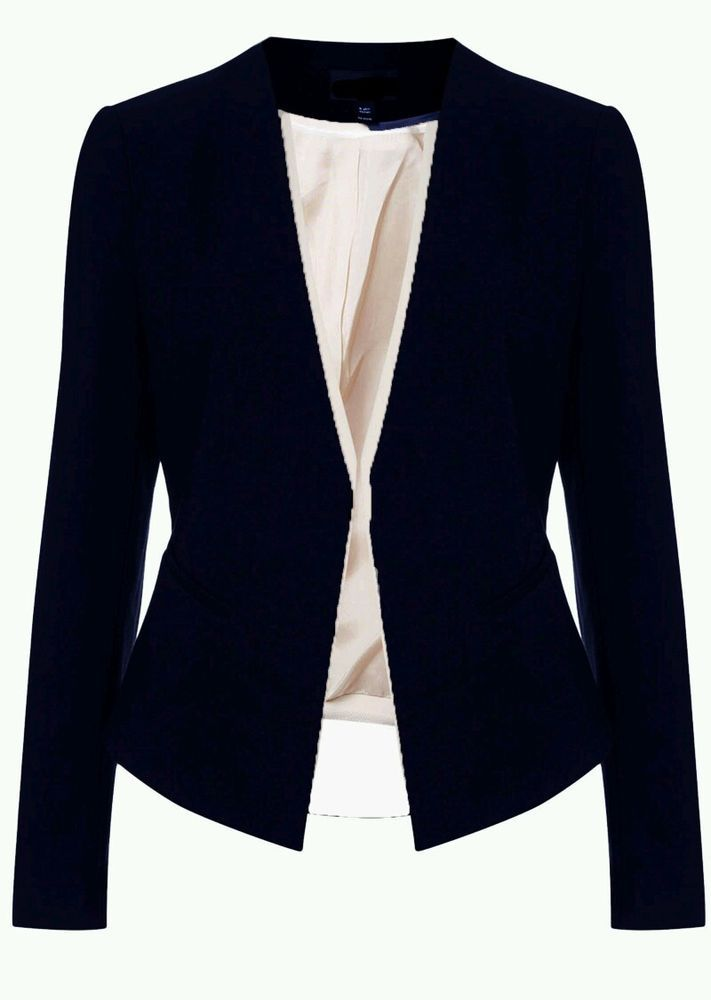 ♥ NEW Navy Blue Waterfall Slim Curve Blazer Jacket ASOS RRP £50 ♥