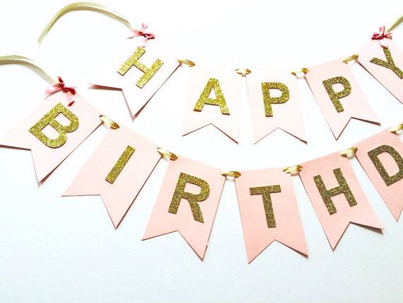 Gold glitter pink birthday banner, sparkly birthday, 1st birthday, personalised banner,  party banner,happy birthday,