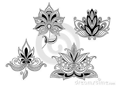 Set of indian and persian flower blossoms by Seamartini