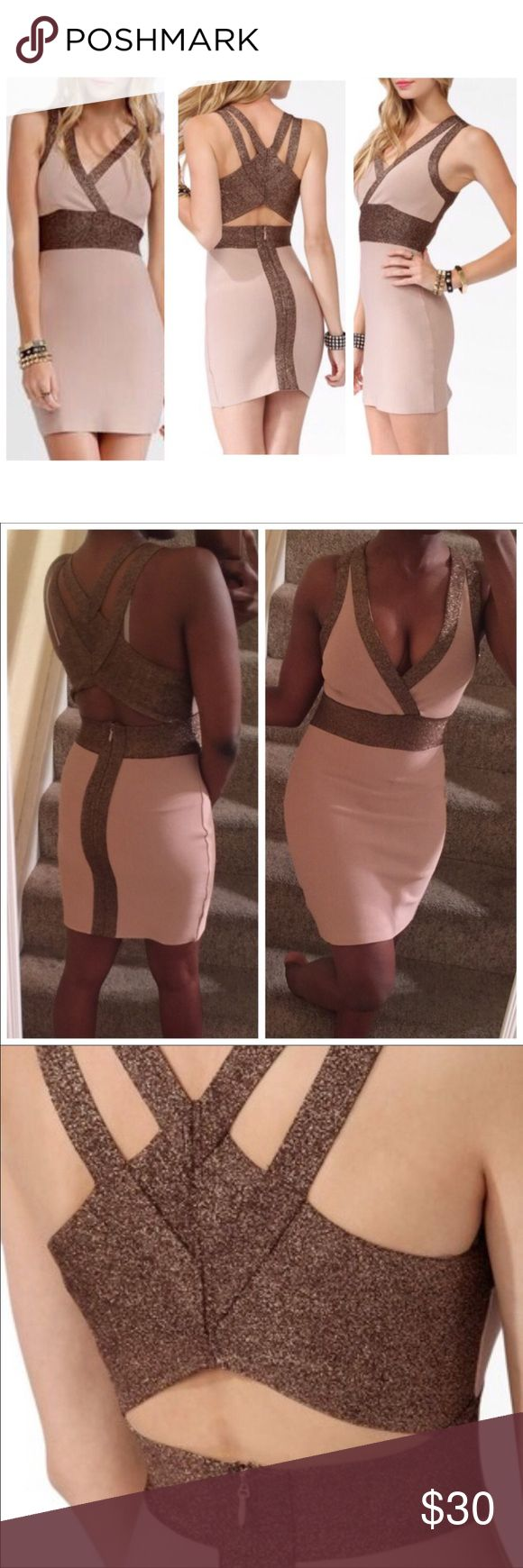 🔥 Metallic Bronze Bandage Dress Stretchy bodycon dress with glitter metallic trim. Very strappy with an open back. Worn twice. Looks very good at night because of the sparkles. Definitely a headturner. Purchased from Forever 21. Beige/Khaki colored.  If you love these brands: 🌸 herve leger 🌸 missguided 🌸 bebe 🌸 house of cb 🌸 french connection 🌸 fashion nova You will love this! Dresses