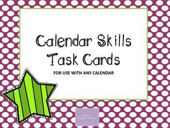 TPT: Calendar Skills Task Cards (for any calendar)