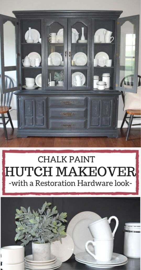 A Brick Home Chalk Paint Hutch Makeover In Charcoal Ideas Grey Dining Room Furniture