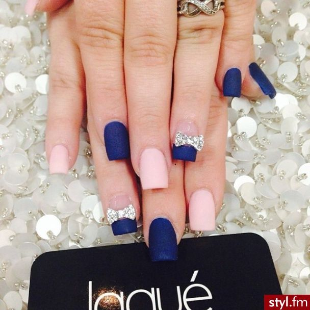 Pink and blue matte nails