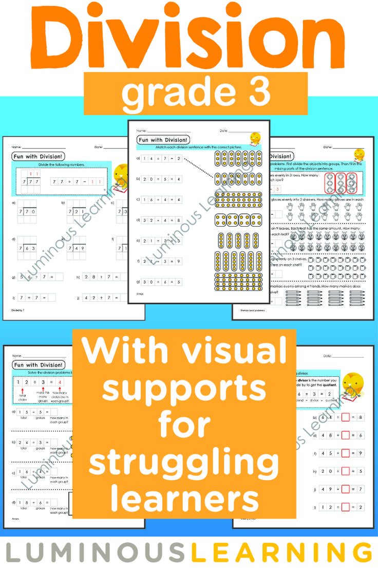 Worksheet Learning Division 1000 images about math division on pinterest anchor charts luminous learning grade 3 workbook is designed with built in supports to help struggling