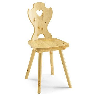 Country style chair with heart on the backrest