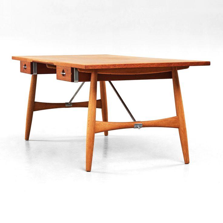 Hans Wegner // Johannes Hansen // Model JH 571 desk, Denmark 1950-60's. Two drawers, stamped maker's mark underneath: JOHANNES HANSEN COPENHAGEN DENMARK, measurements 195 x 90 cm, height 72,5 cm. Key included.