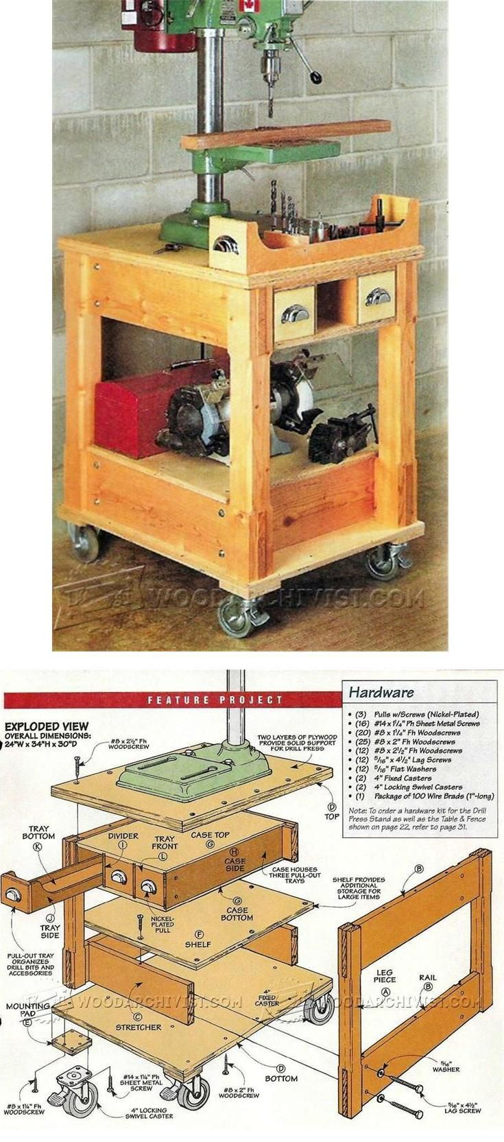 Mobile Drill Press Stand Plans - Drill Press Tips, Jigs and Fixtures | WoodArchivist.com