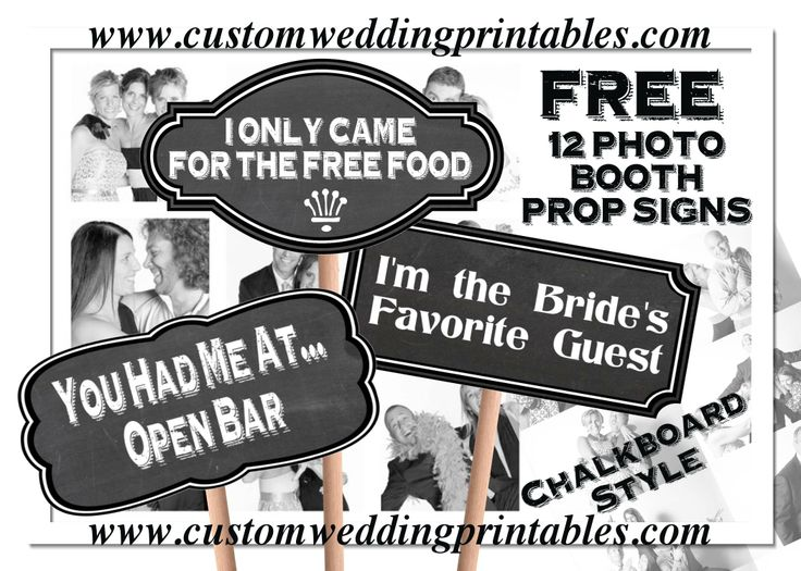 FREE Wedding Photo Booth Sign Props 12 Signs