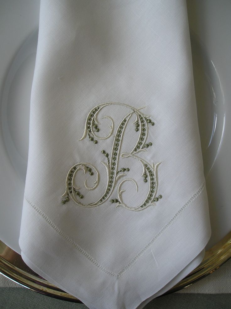 White Linen Napkins, Green Embroidery
