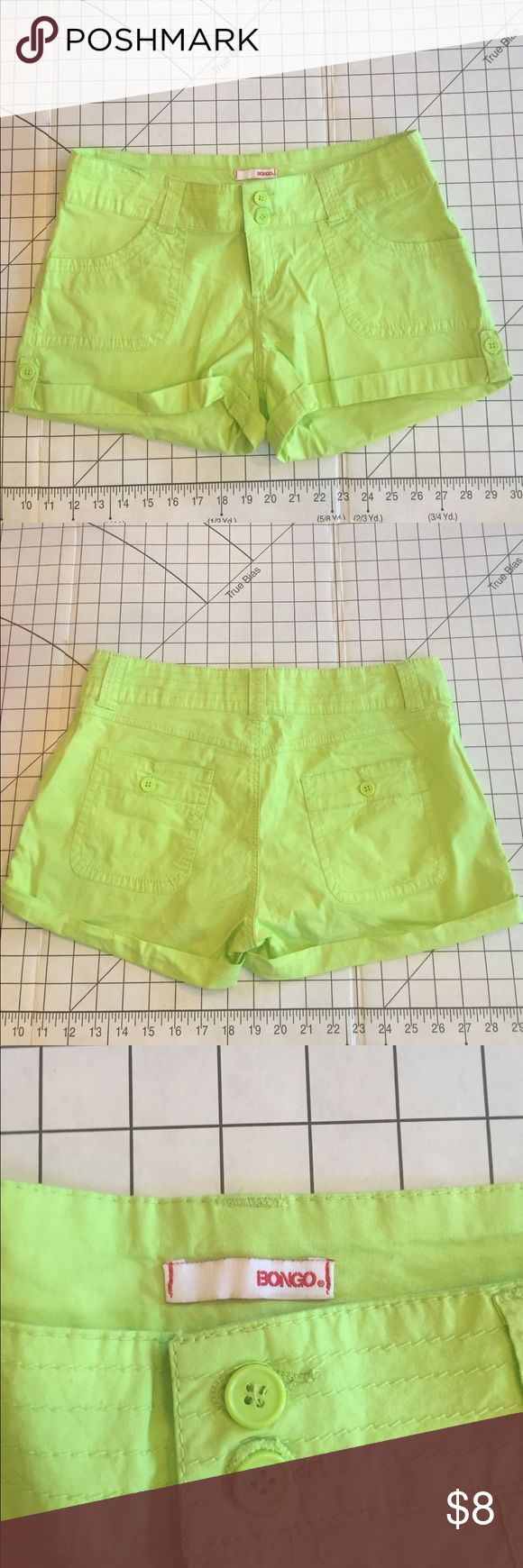 "Bingo lime green shorts Comfy shorts, double button 5"" inseam BONGO Shorts"