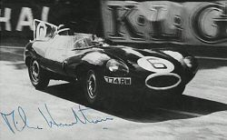 A signed by Mike Hawthorn photo of Jaguar D-type No 6 leading through the Esses during Le Mans 1955<br>Contributed by Bob Harrison
