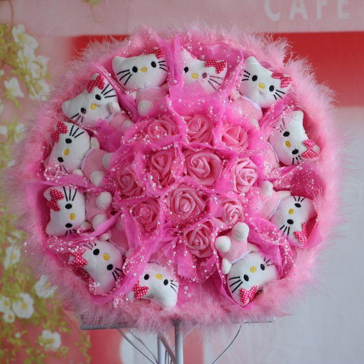 11 kt plush with 11 artificial roses bouquet 11KT11朵花 仿真花娃娃玩偶花卡通花束