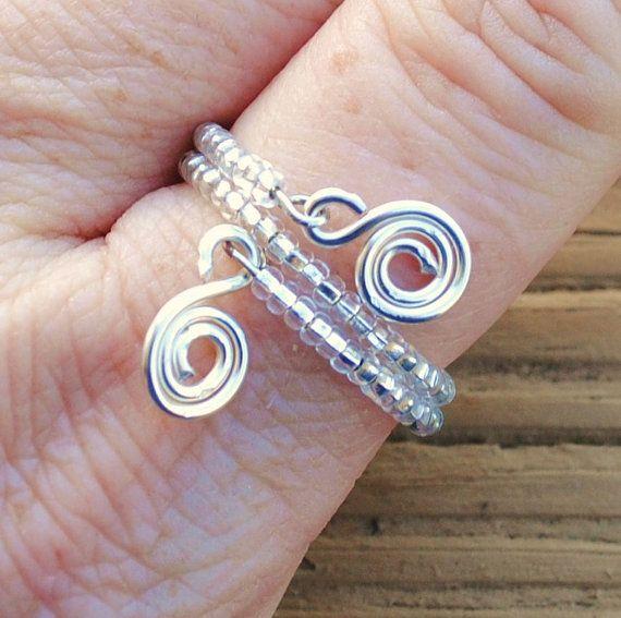Memory Wire Beaded Ring Clear Silver Lined Czech by KissMeKrafty, $9.00