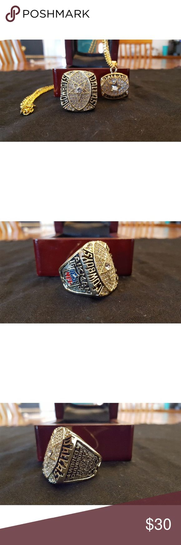 Dalkas Cowboys Fan Edition 1992 Super Bowl Ring 🏆🏈🏆 New never worn. Many sizes. Ring and/or necklace. Show the world your Cowboys pride by owning this beautiful ring and remember their 1992 Super Bowl Championship Ring . This gorgeous ring is 18k gold plated and inlayed with exquisite cubic zirconias. It will look great on your finger, at the game, while watching the game on tv, or around town. This is the closest thing to a real championship ring set that most of us will ever get…