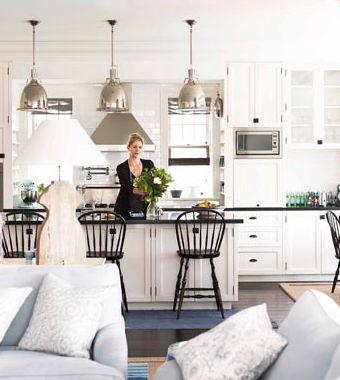 White kitchen, dark benchtops, traditional bar stools, nickel pendant ...
