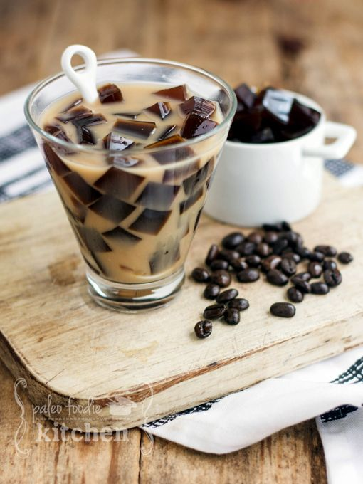 A refreshing coffee jelly almond milk tea with all natural ingredients