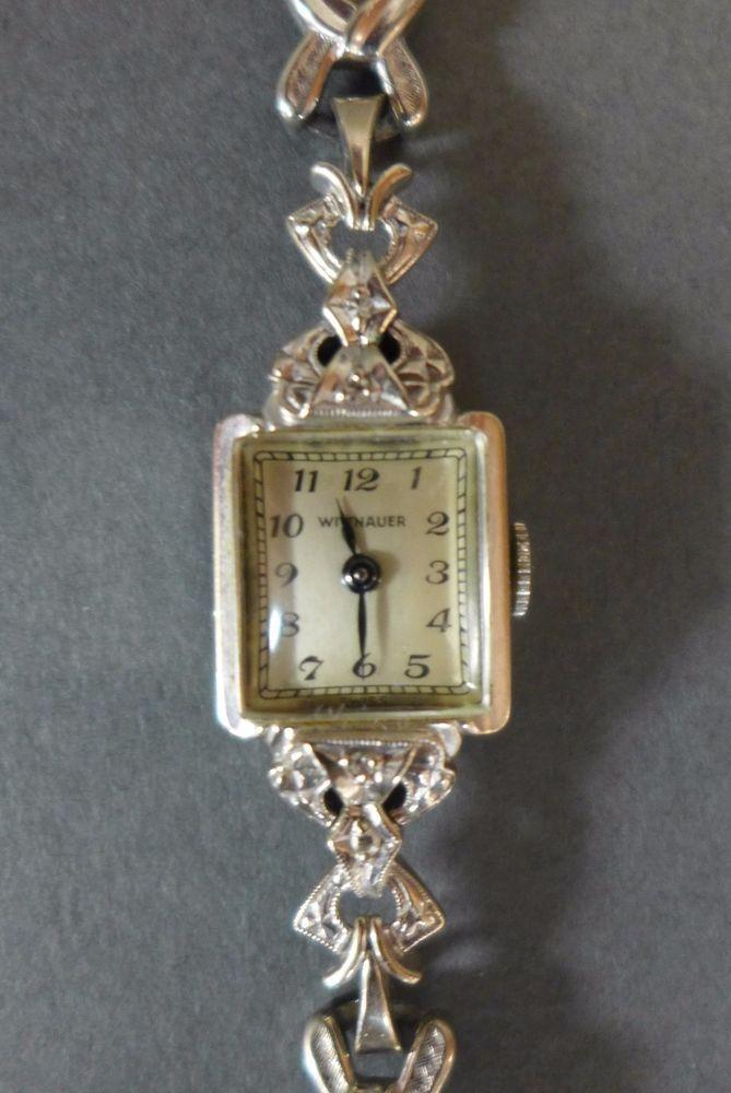 Vintage 1950s Wittnauer 14K White Gold Diamond Ladies ...