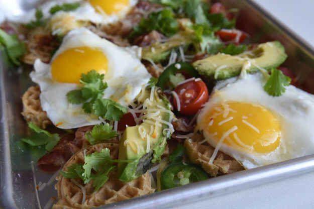 Bacon egg cheese and avocado breakfast nachos