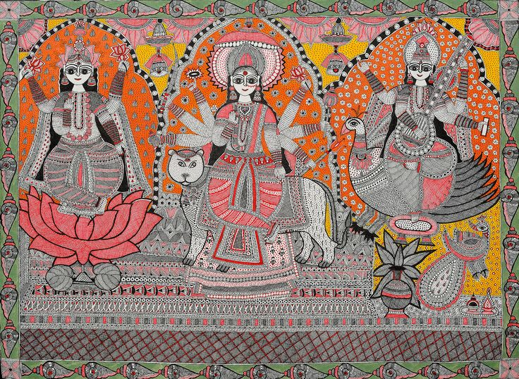 A Great Triad of Lakshmi, Durga and Saraswati with the Border of Conches