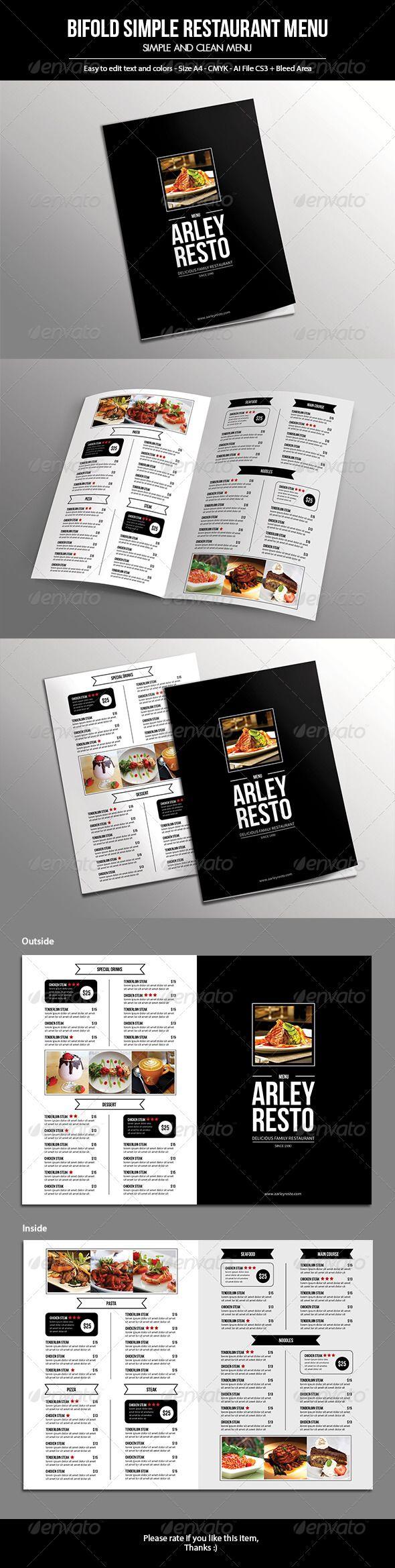 Bifold Simple Restaurant Menu Food Menus