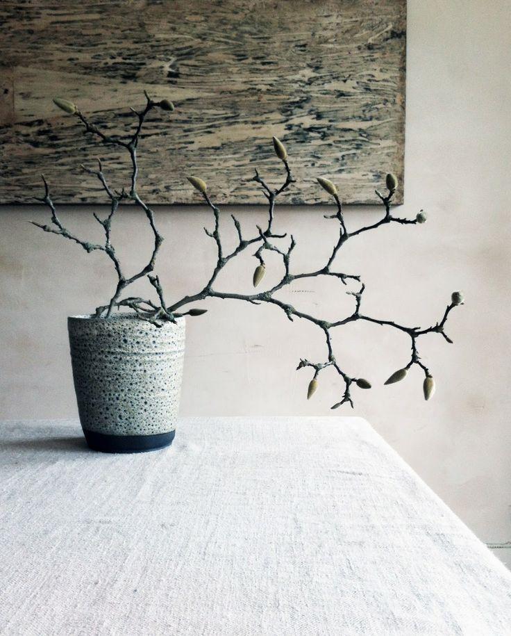 Een mooie tak van de Magnolia in een aardewerk pot haalt een stijlvol voorjaar in huis.