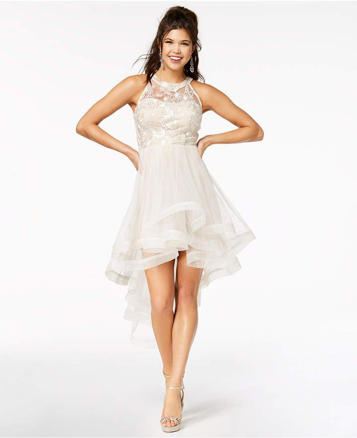 4fee4113f4 Say Yes to the Prom Juniors  Shine Tiered High-Low Dress