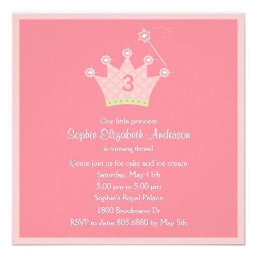 女の子は何歳だってお姫様。女の子のお子さんのバースデーパーティには、ピンクで愛らしい招待状を♪ #zazzle #キッズ #招待状