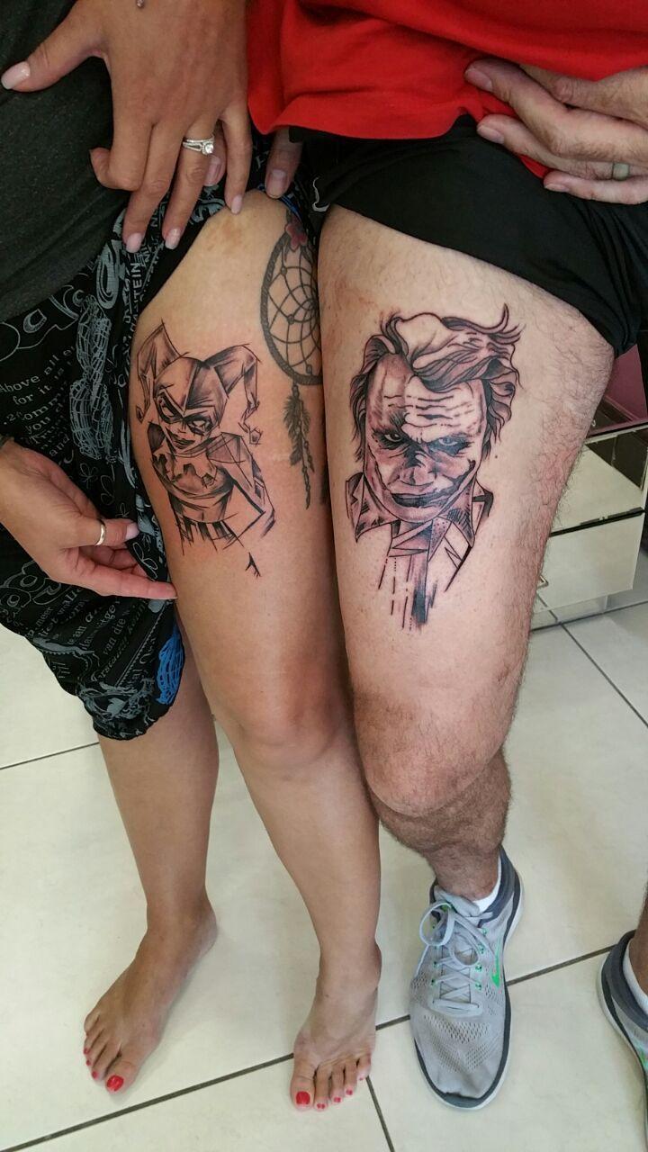 d8d5224f7 Couples tattoo Joker tattoo Harley Quinn tattoo Leg tattoo His and hers  tattoo Cool tattoo idea